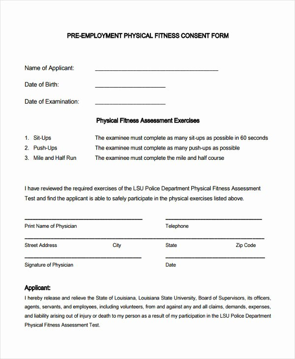 Pre Employment Physical form Template Inspirational Free 8 Pre Employment Physical forms In Samples Examples