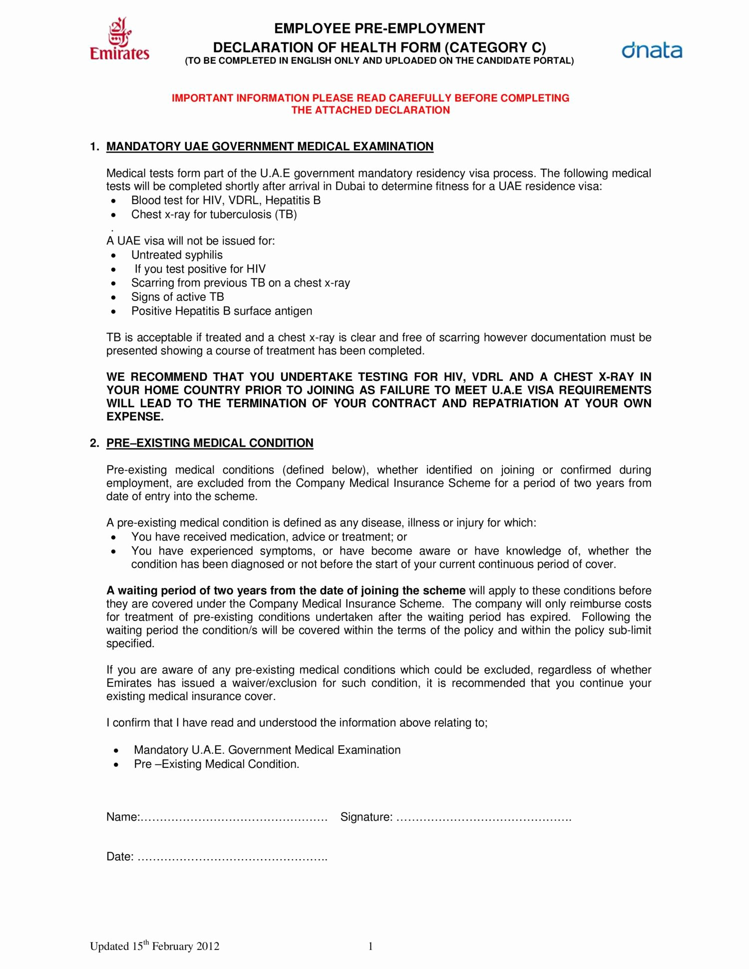 Pre Employment Physical form Template Inspirational Pre Employment Medical form – Medical form Templates