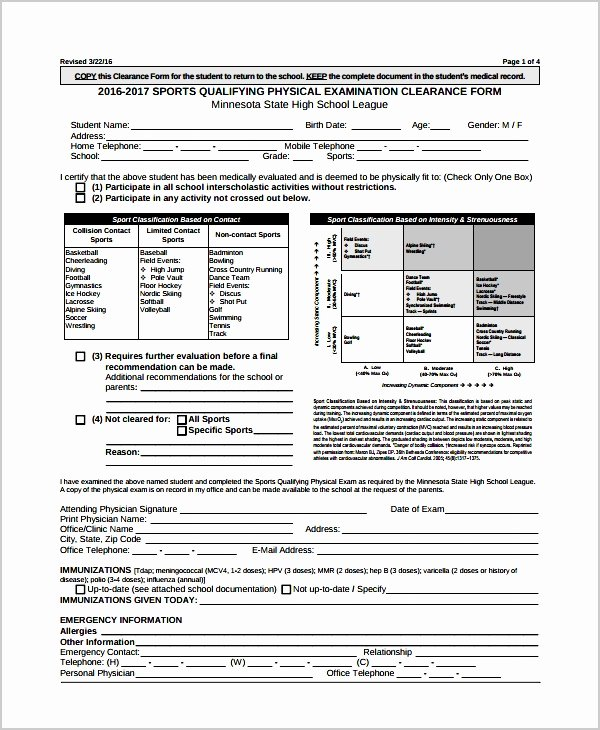 Pre Employment Physical form Template Luxury 9 Pre Employment Physical Examination form Sampletemplatez