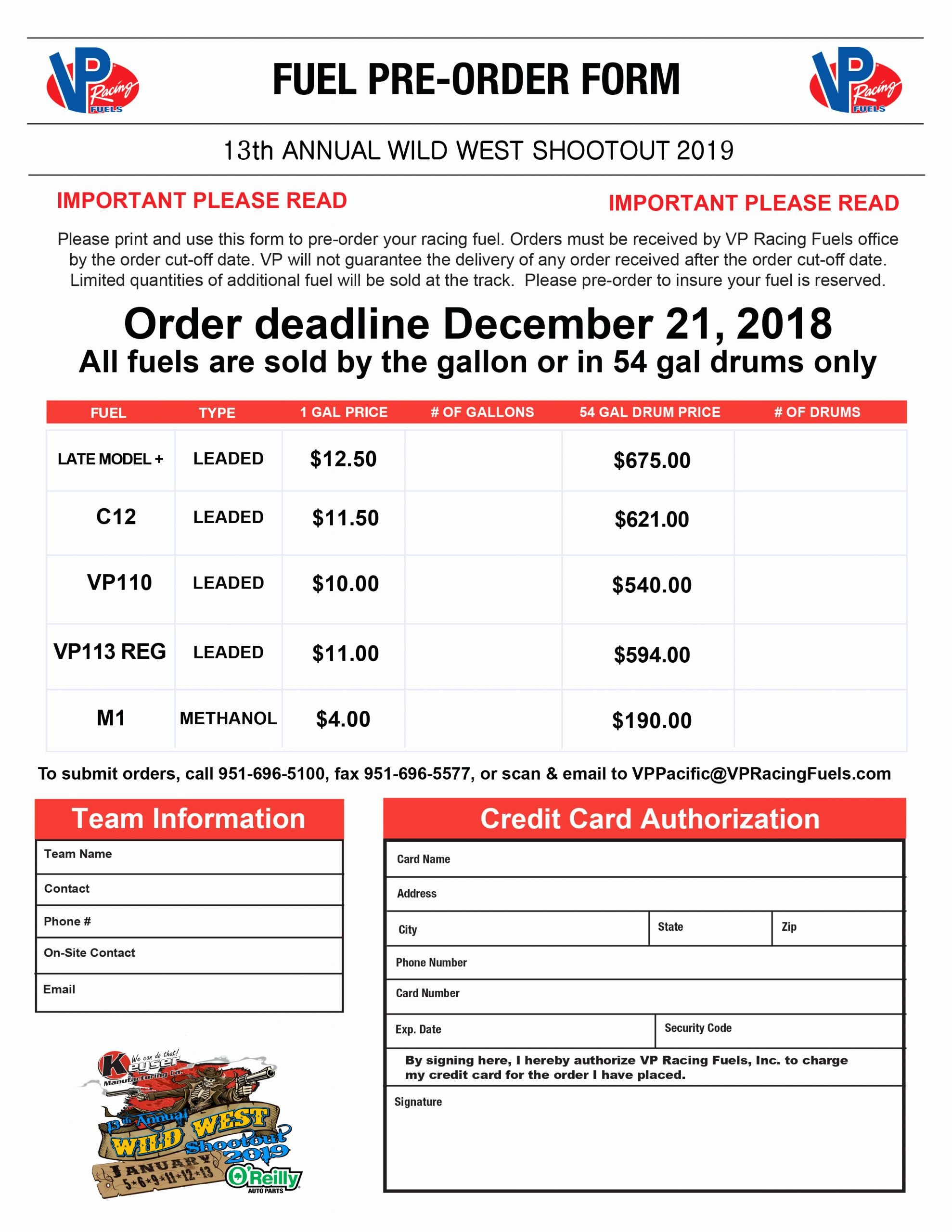 Pre order form Template Free Beautiful Vp Fuel Pre order form the Wild West Shootout
