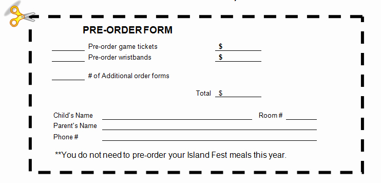 Pre order form Template Free Fresh Field Pto island Fest is Thursday April 21 order
