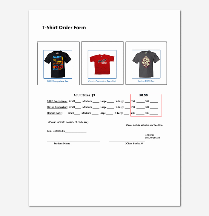 Pre order form Template New T Shirt order form Template 17 Word Excel Pdf