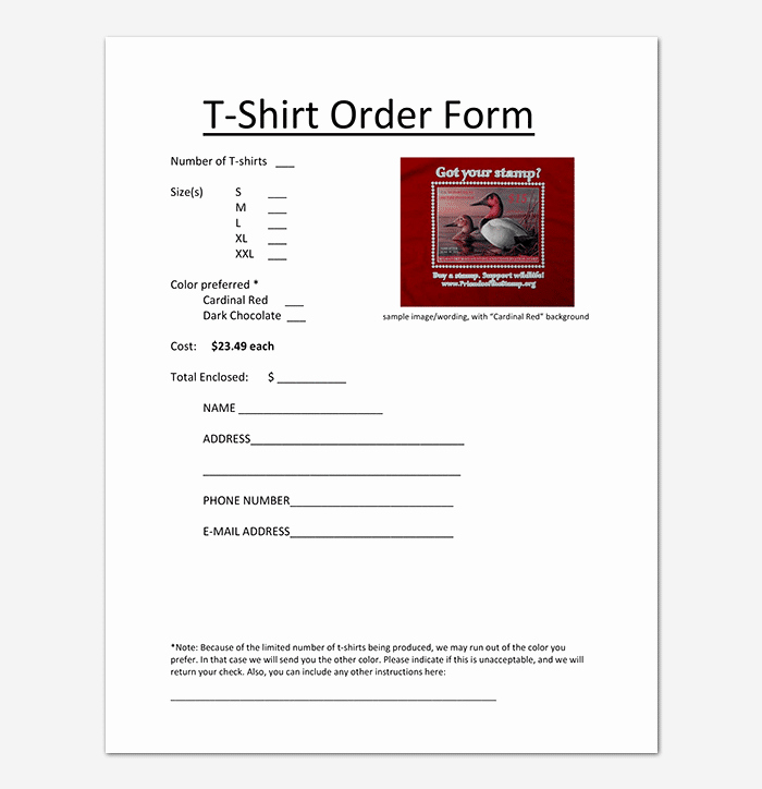 Pre order form Template Unique T Shirt order form Template 17 Word Excel Pdf