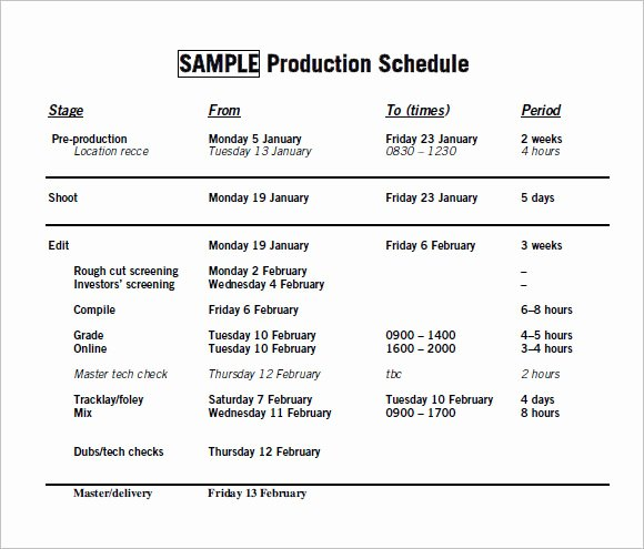 Pre Production Schedule Template Best Of Free 10 Sample Production Timelines In Examples format