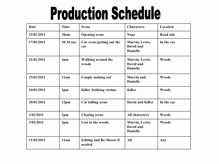 Pre Production Schedule Template Elegant Production Schedule