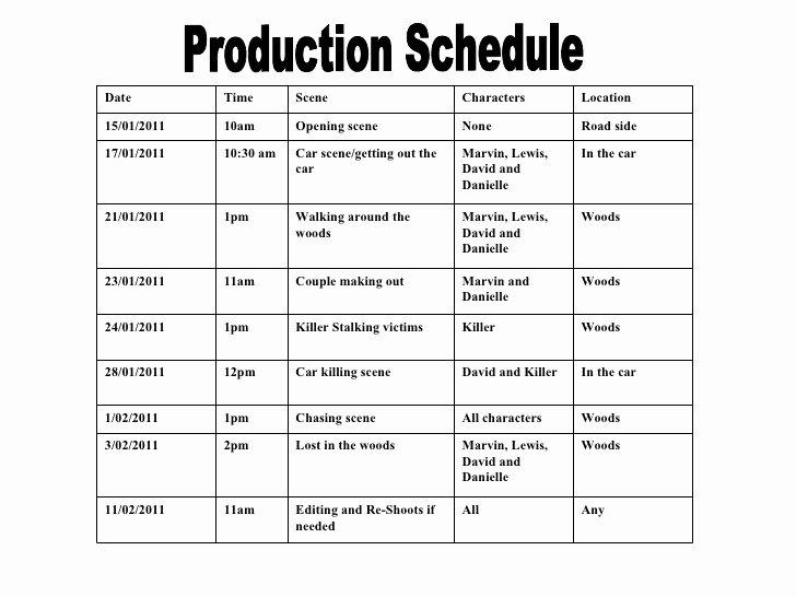 Pre Production Schedule Template Elegant Production Schedule