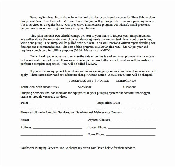 Preventive Maintenance form Template Awesome Maintenance Contract Template 20 Download Documents In