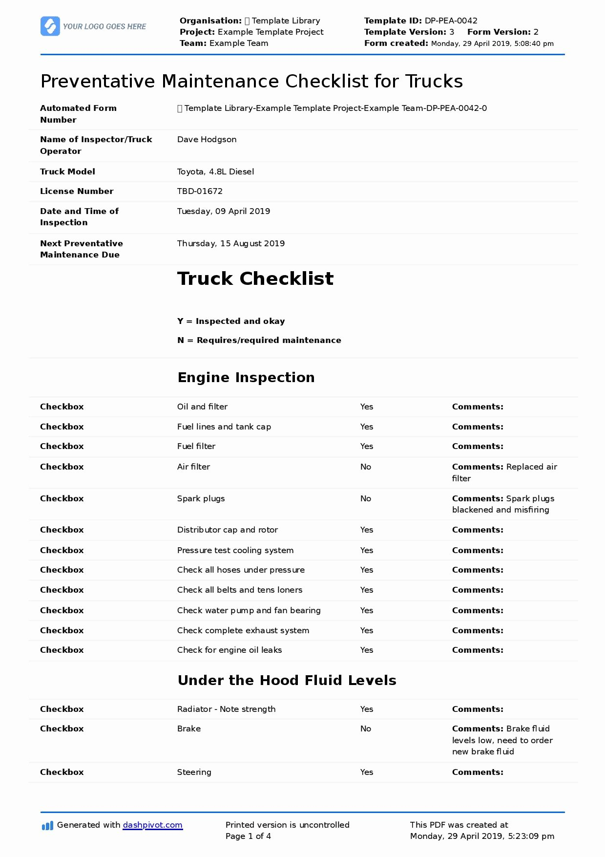 Preventive Maintenance form Template Fresh Preventative Maintenance Checklist for Trucks Diesel