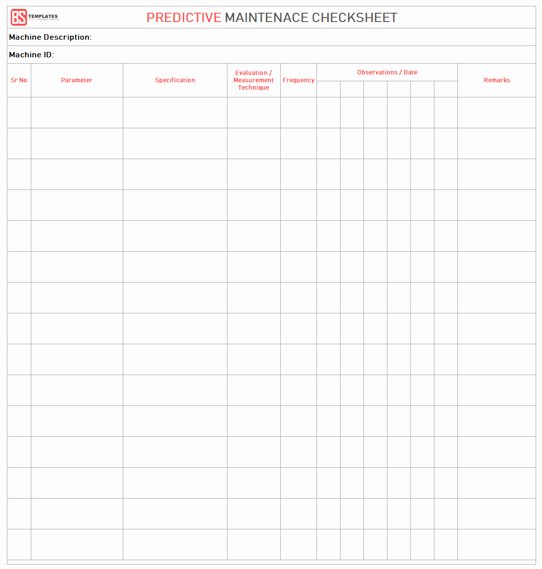 Preventive Maintenance form Template Inspirational Maintenance Checklist Template 10 Daily Weekly