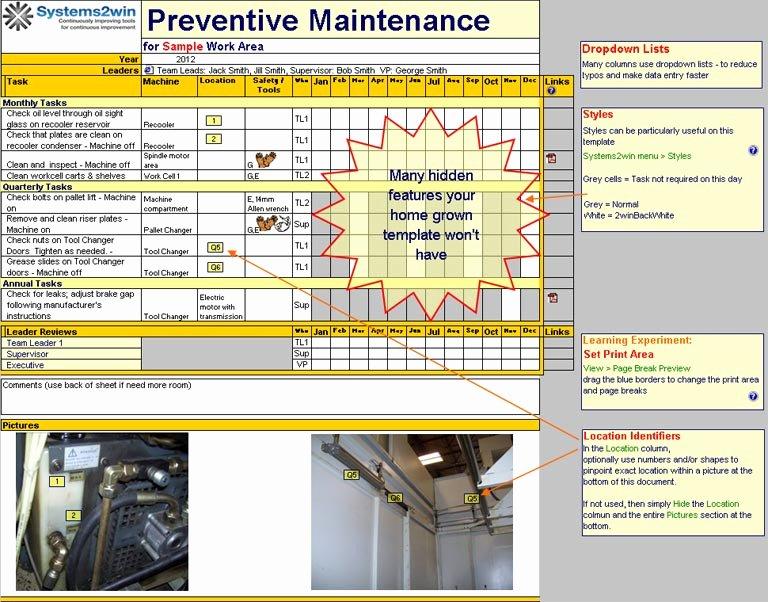 Preventive Maintenance form Template Inspirational Preventive Maintenance Schedule Template Excel
