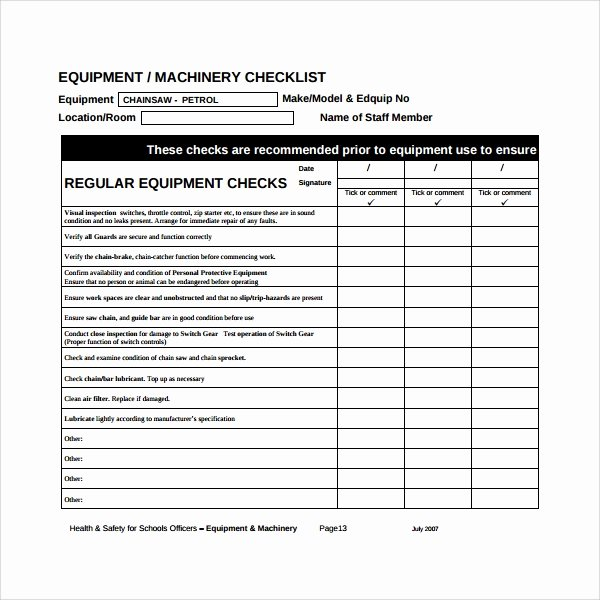Preventive Maintenance form Template Lovely 17 Maintenance Checklist Templates – Pdf Word Pages