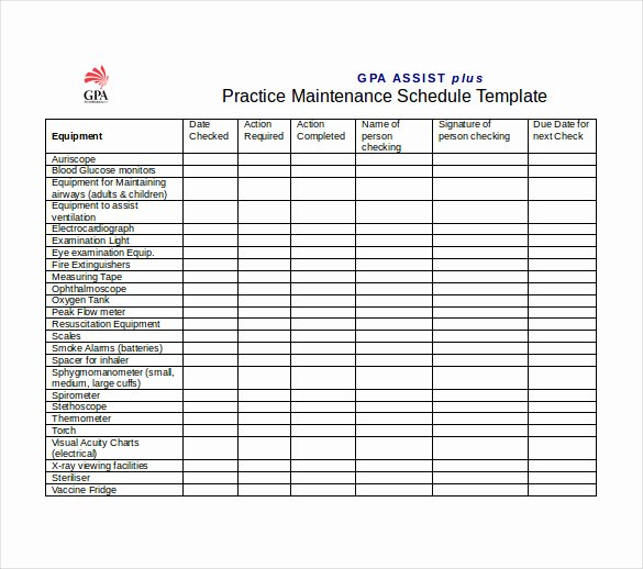Preventive Maintenance Schedule Template Excel Beautiful Preventive Maintenance Schedule Template Excel