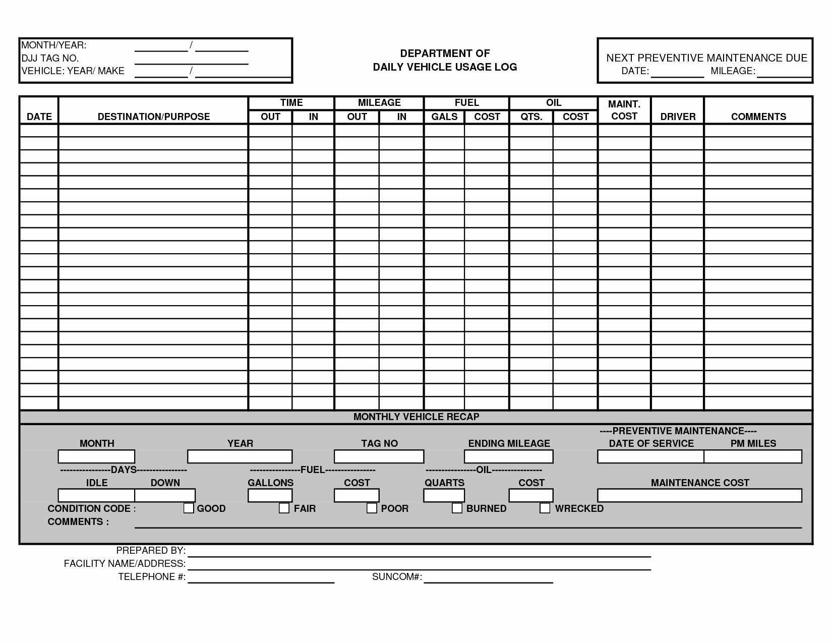 Preventive Maintenance Schedule Template Excel Beautiful Vehicle Maintenance Schedule Template Excel – Printable