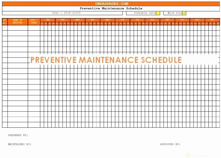 Preventive Maintenance Schedule Template Excel Inspirational Preventative Maintenance Program Template