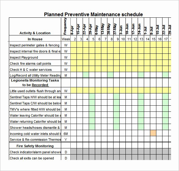 Preventive Maintenance Schedule Template Excel Lovely 39 Preventive Maintenance Schedule Templates Word