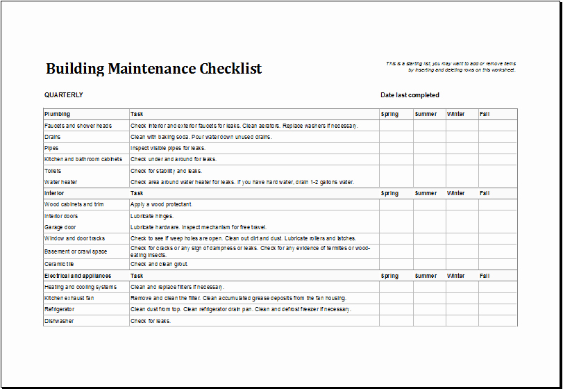 Preventive Maintenance Schedule Template Excel Lovely 7 Facility Maintenance Checklist Templates Excel Templates