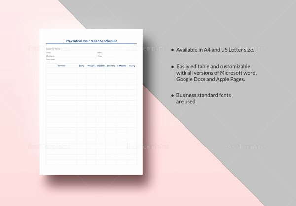 Preventive Maintenance Schedule Template Excel Luxury 39 Preventive Maintenance Schedule Templates Word