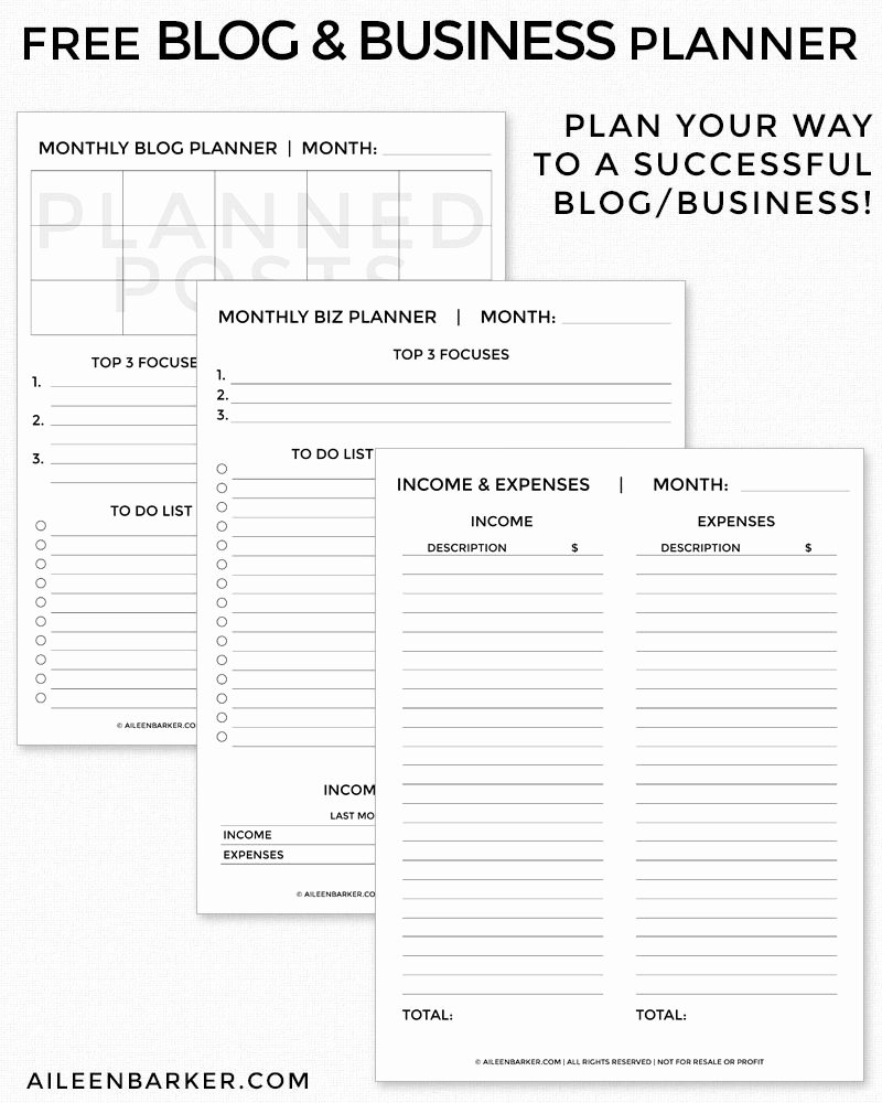 Printable Business Plan Template Awesome Free Blog and Business Planner Printable