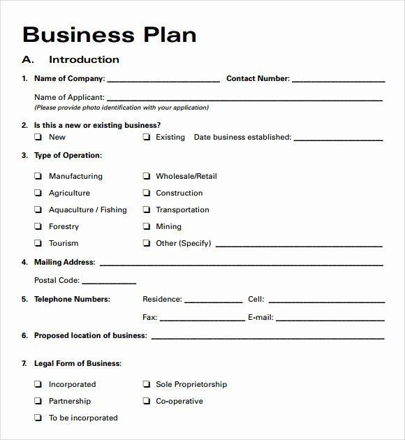 Printable Business Plan Template Fresh Free Business Plan Template