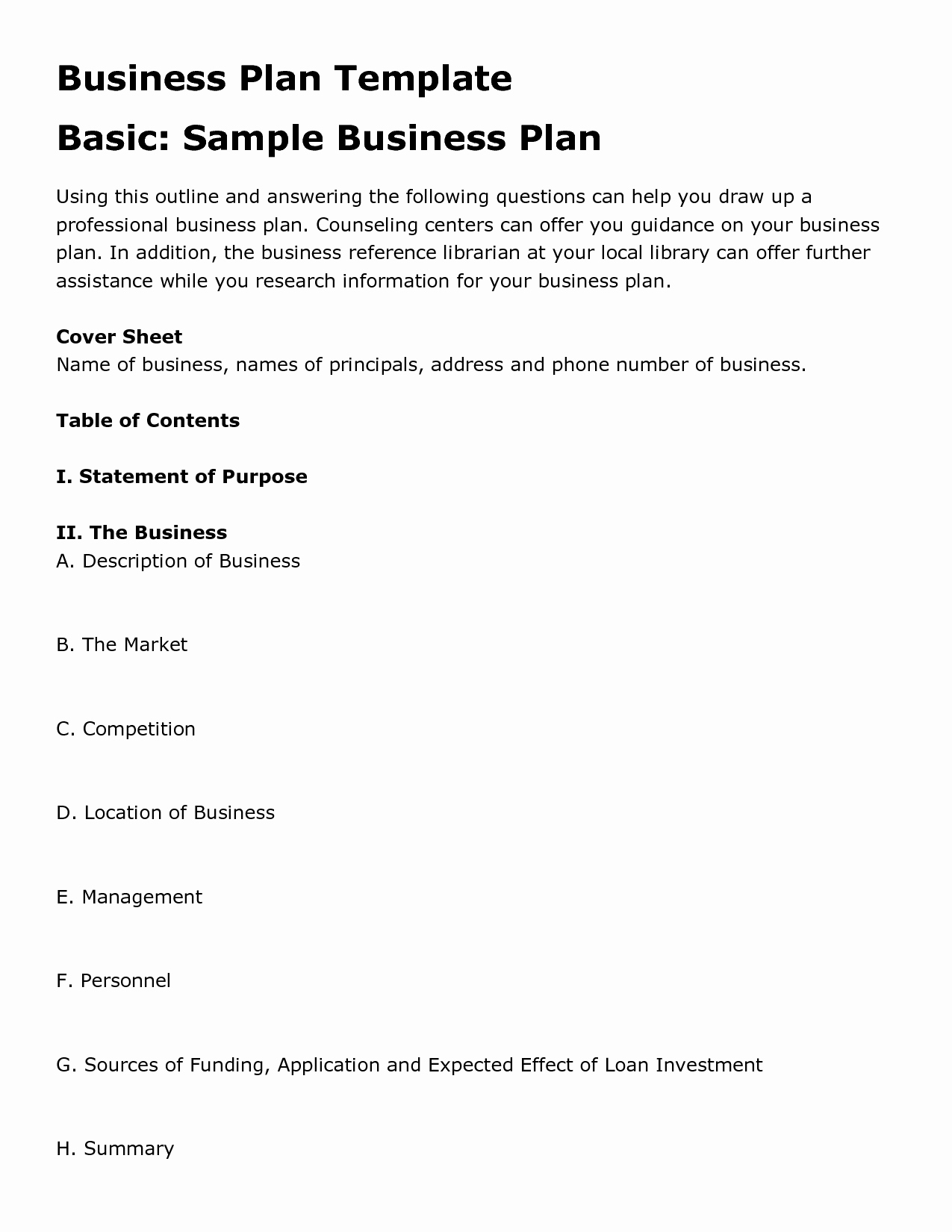Printable Business Plan Template New Free Printable Business Plan Template form Generic