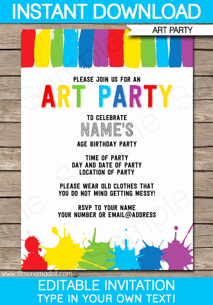Printable Party Invitation Template Fresh Art Party Invitations Template Art Party