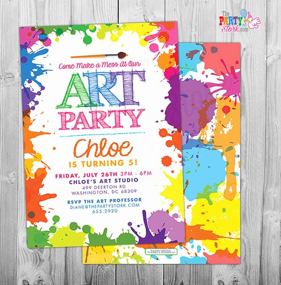Printable Party Invitation Template Lovely Art Paint Party Invitations Printable Birthday Invitation