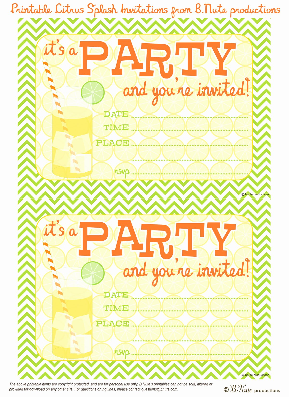 Printable Party Invitation Template Luxury Bnute Productions Free Printable Citrus Splash Invitations