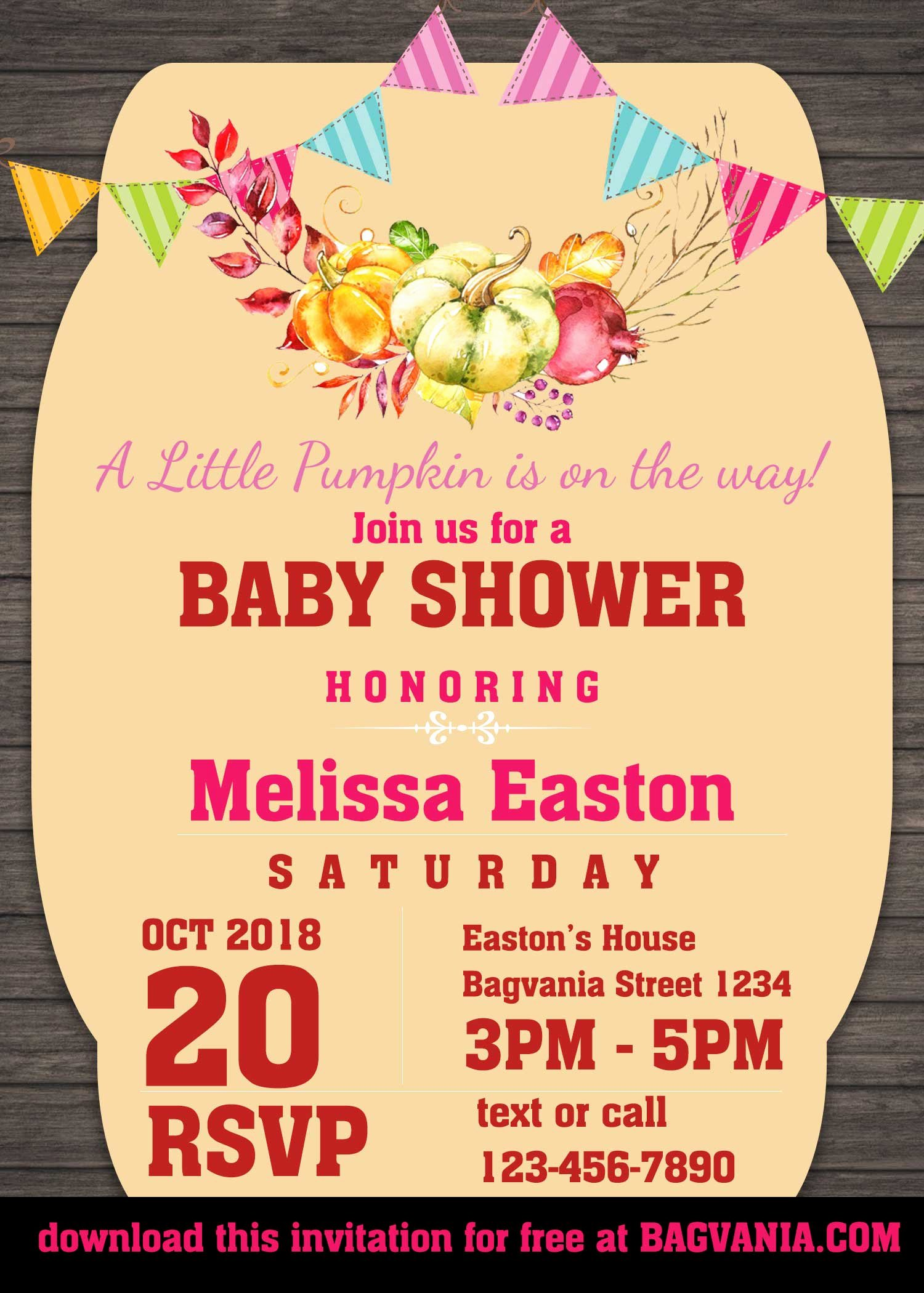 Printable Party Invitation Template Luxury Free Pumpkin Baby Shower Invitation Templates – Free