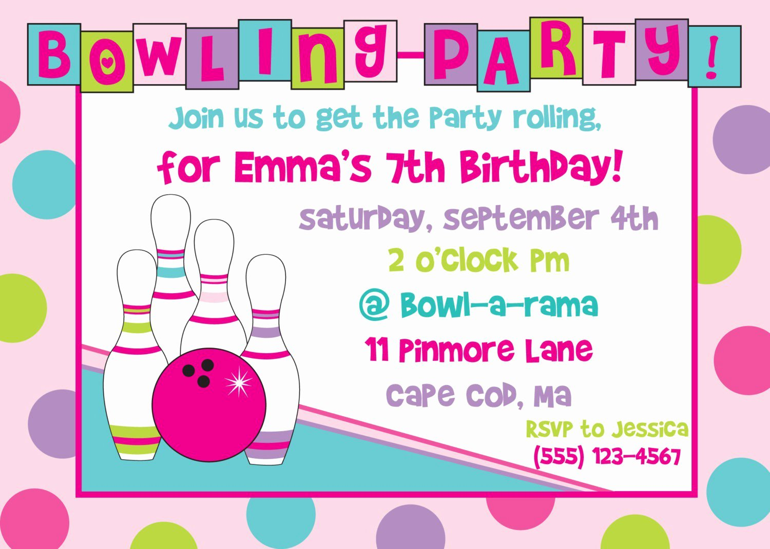 Printable Party Invitation Template New Bowling Birthday Party Invitations Free Templates