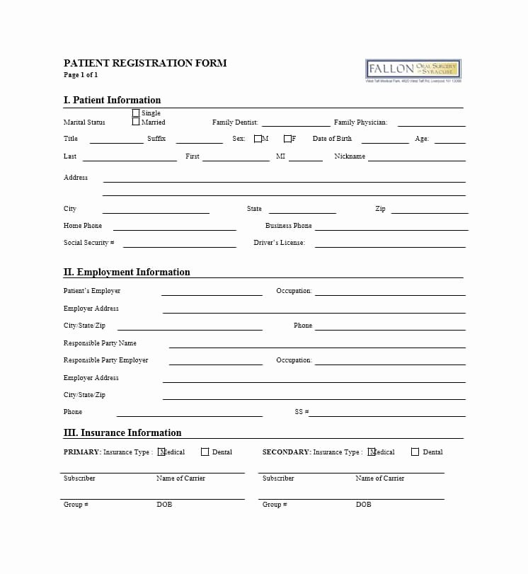 Printable Registration form Template Beautiful 44 New Patient Registration form Templates Printable