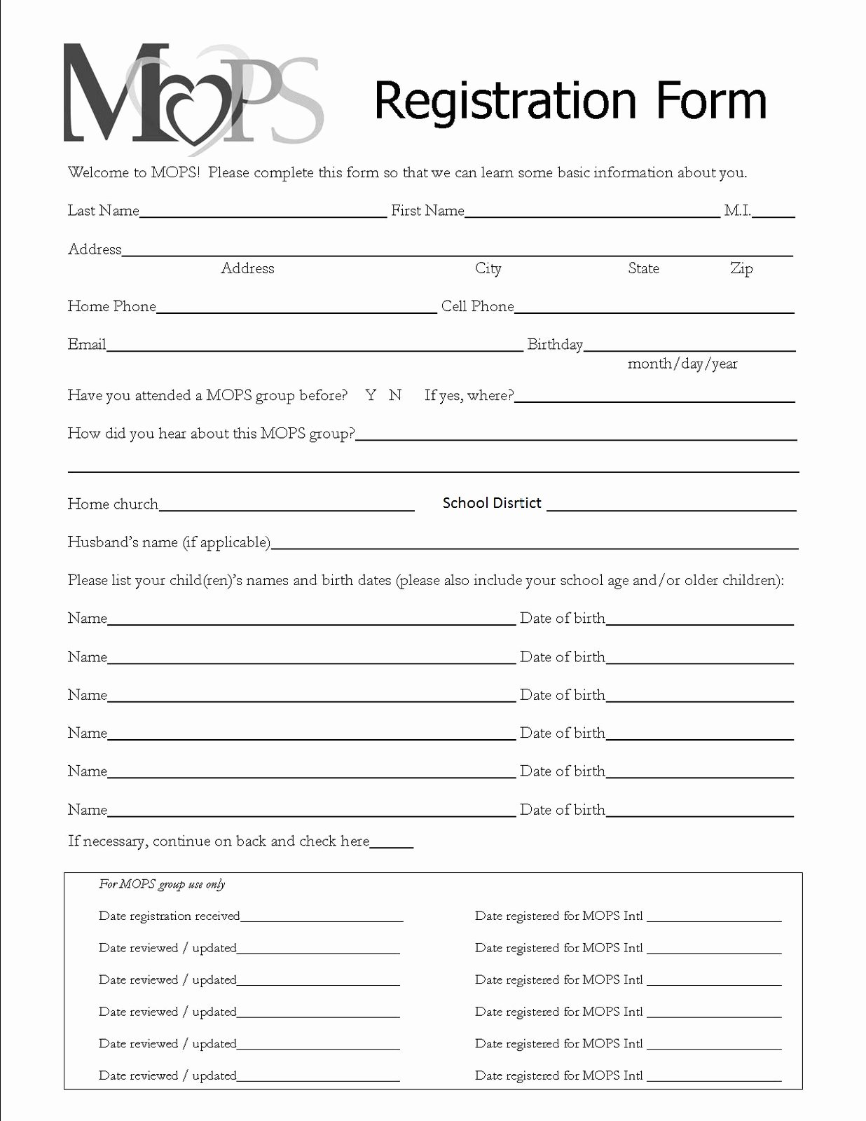 Printable Registration form Template Elegant Mothers Of Preschoolers Chippewa Evangelical Free Church