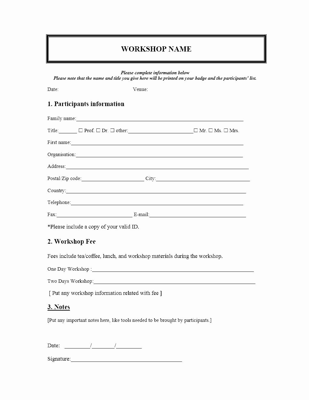 Printable Registration form Template Fresh event Registration form Template Microsoft Word