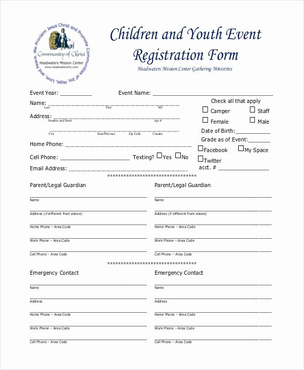 Printable Registration form Template Inspirational Free 12 Sample event Registration forms