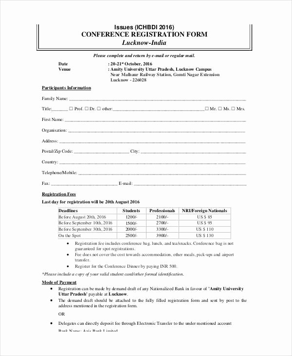 Printable Registration form Template Unique Printable Registration form Templates 9 Free Pdf