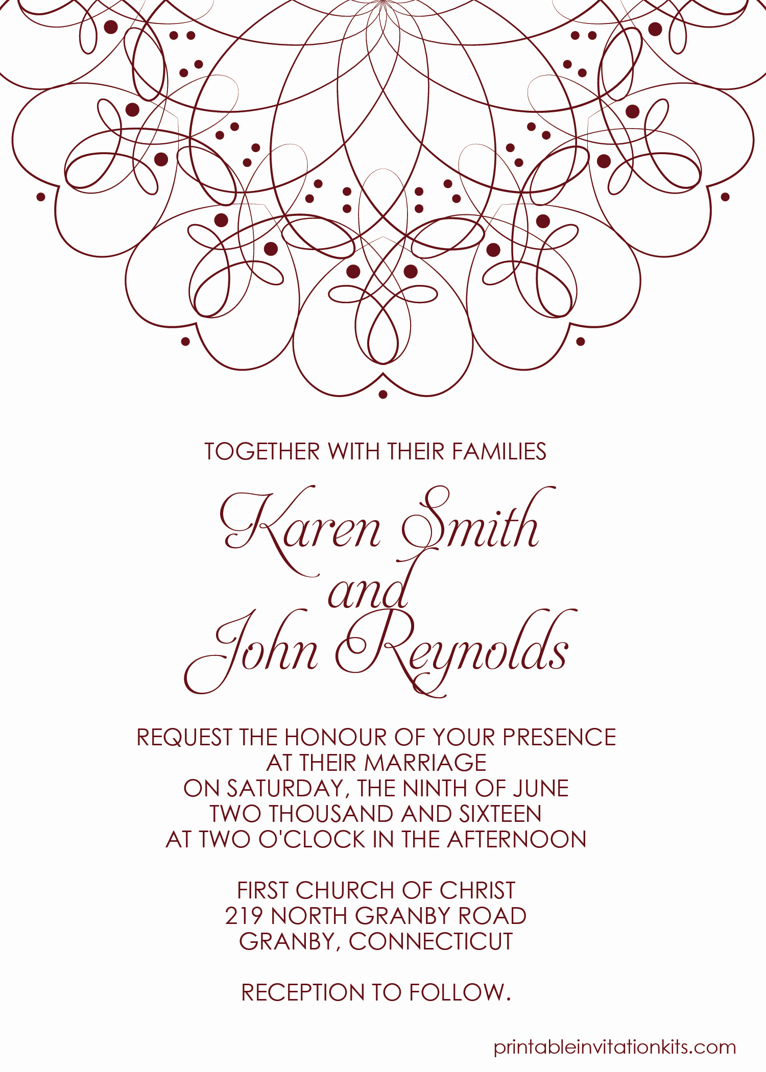 Printable Wedding Invitation Template Beautiful Spiral Border Invitation Free Pdf Template for Weddings