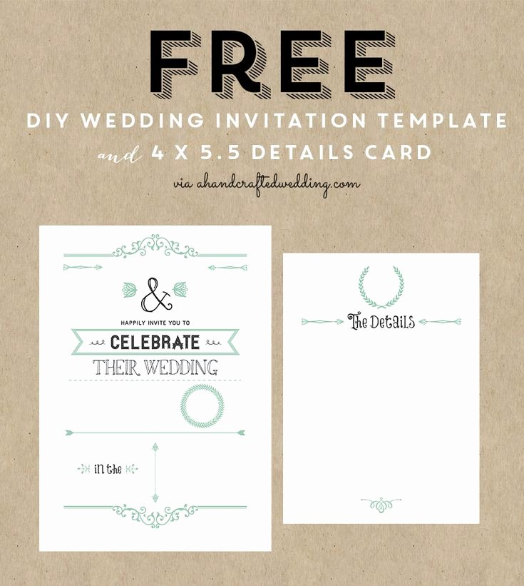 Printable Wedding Invitation Template Fresh Free Wedding Invitation Template & Details Card Via