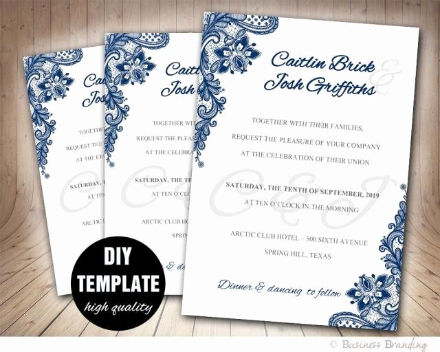 Printable Wedding Invitation Template Fresh Navy Blue Wedding Invitation Template Diy Instant Download