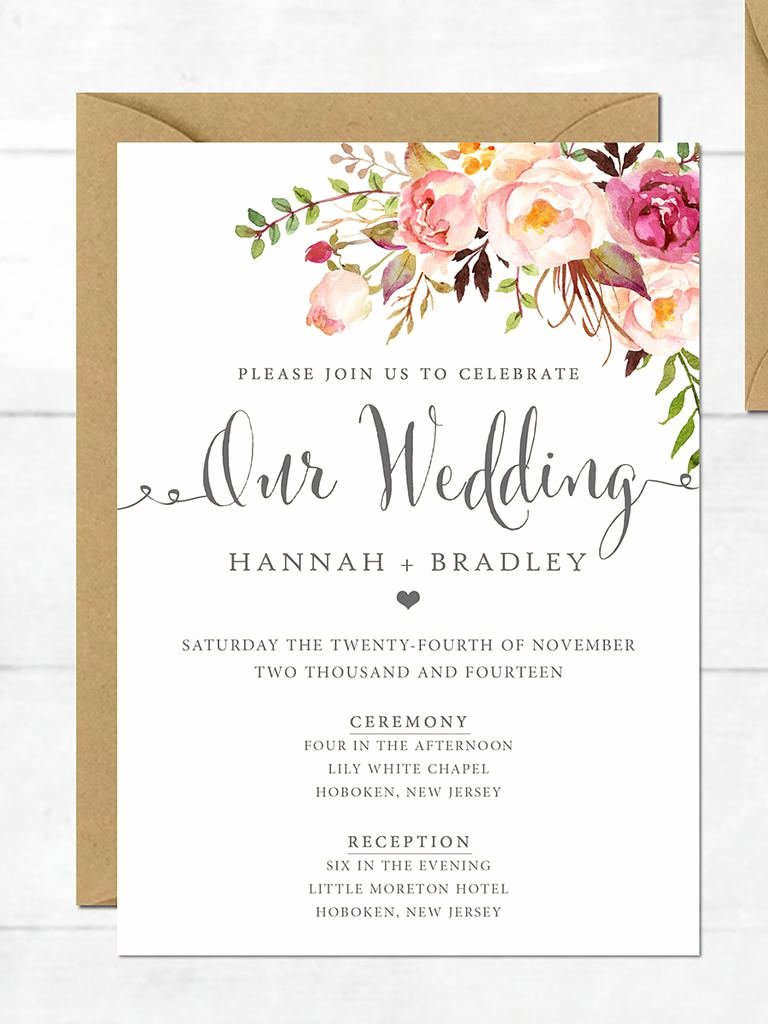 Printable Wedding Invitation Template Fresh Wedding Invitation Printable Wedding Invitation