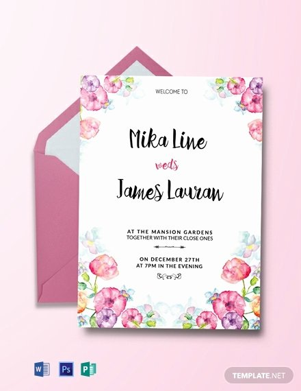 Printable Wedding Invitation Template Inspirational Free Watercolor Floral Wedding Invitation Template Word