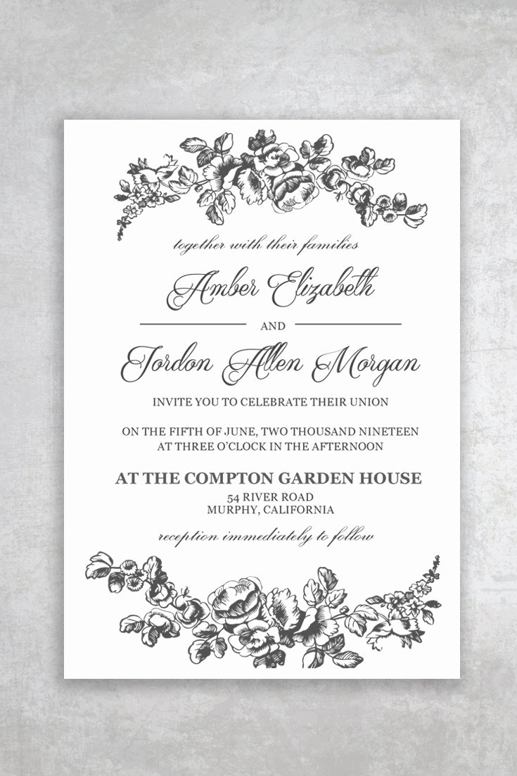 Printable Wedding Invitation Template Unique Printable Wedding Invitation Template Rustic Alchemie