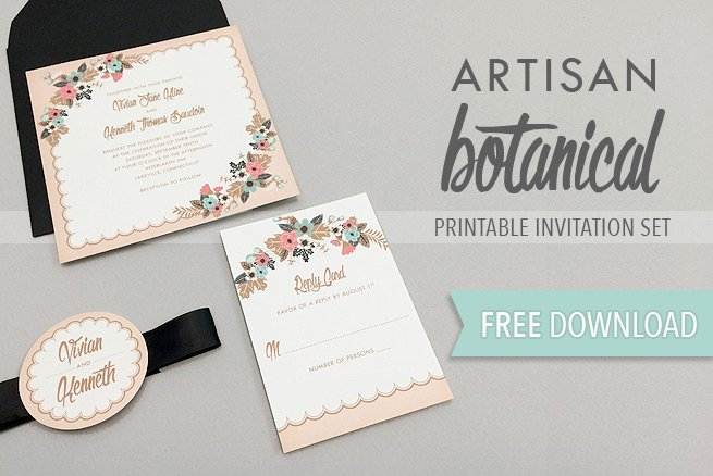 Printable Wedding Invitations Template Awesome Artisan Botanical Free Printable Wedding Invitation