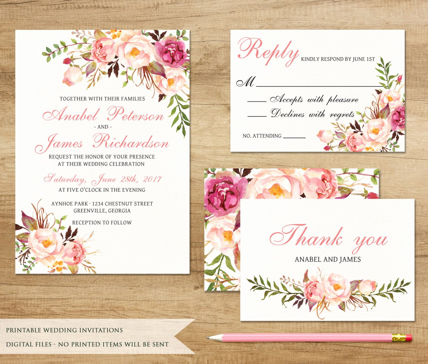 Printable Wedding Invitations Template Luxury Floral Wedding Invitation Printable Wedding Invitation