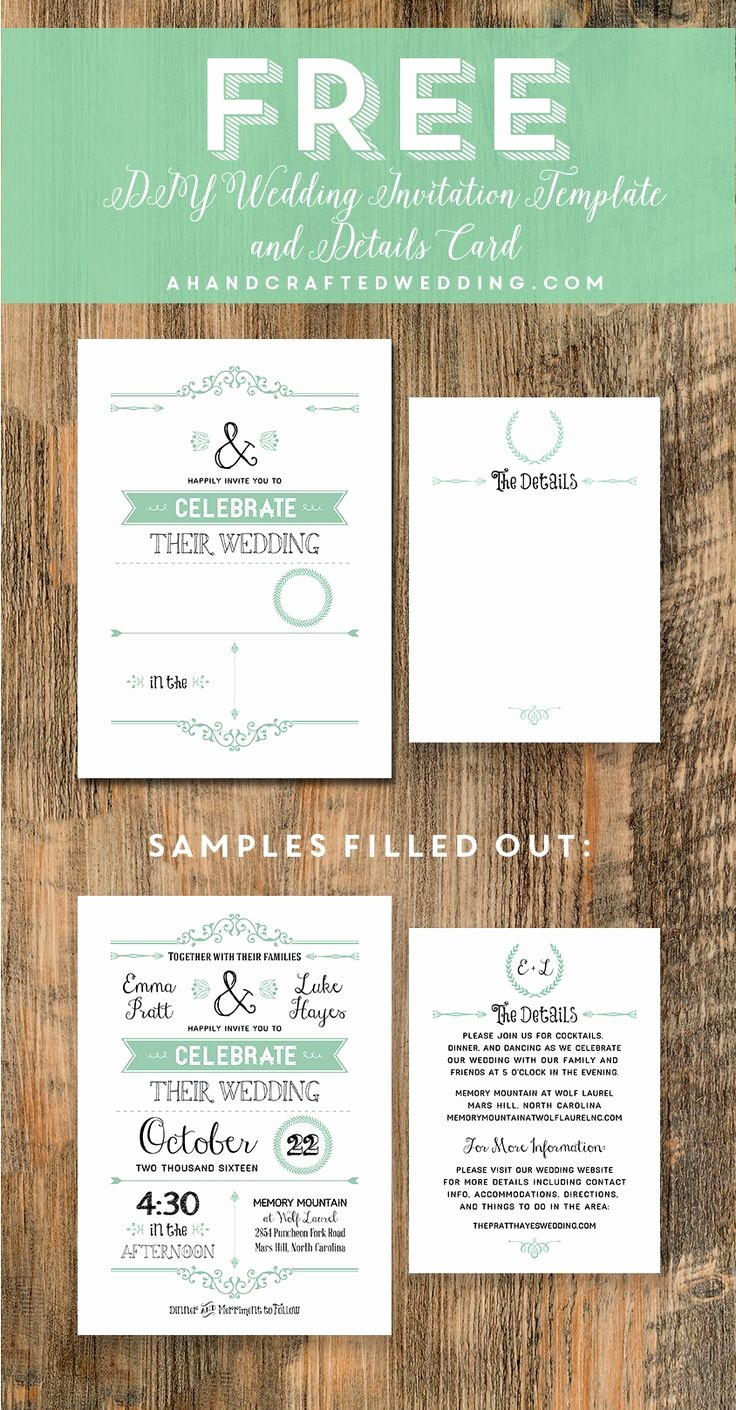 Printable Wedding Invitations Template Luxury Free Wedding Invitation Template Via Ahandcraftedwedding