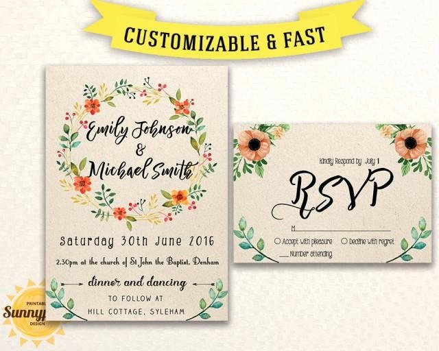 Printable Wedding Invitations Template Luxury Printable Wedding Invitation Template Download Floral