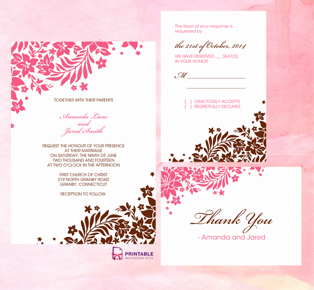 Printable Wedding Invitations Template New Foliage Borders Invitation Rsvp and Thank You Cards