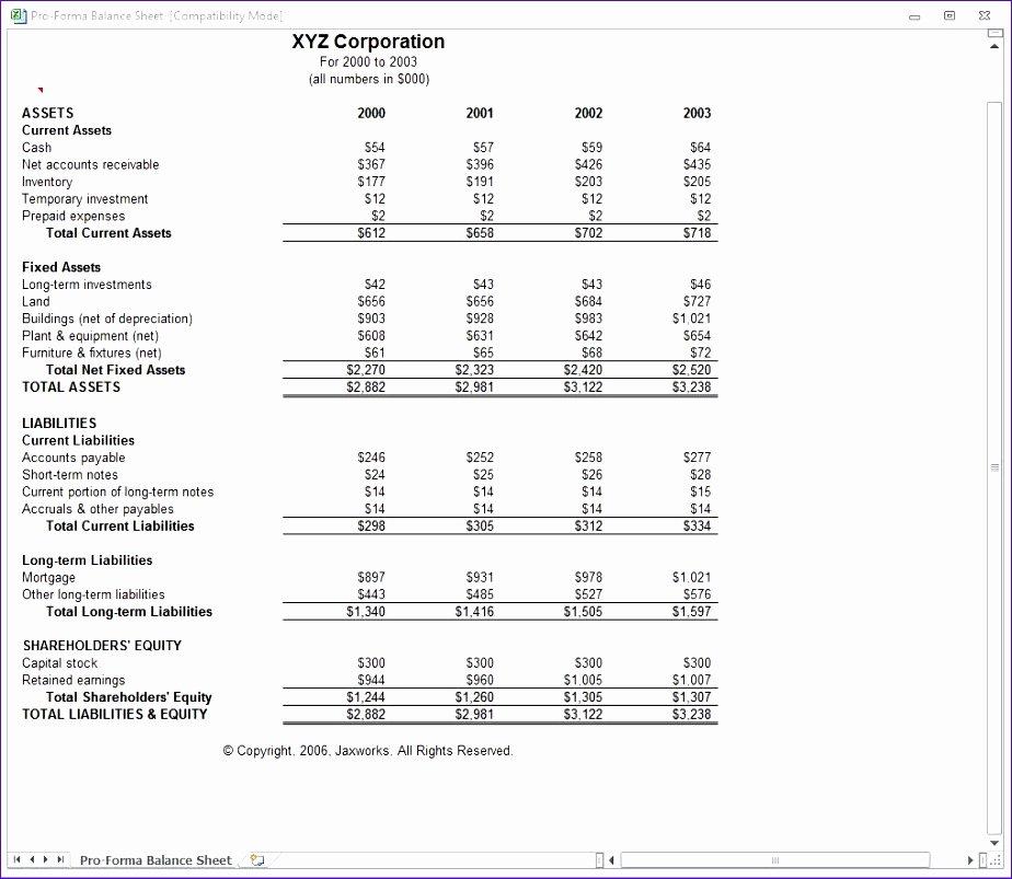 Pro forma Balance Sheet Template Beautiful 10 Pro forma Balance Sheet Template Excel Exceltemplates
