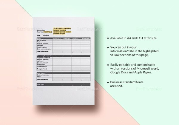 Pro forma Balance Sheet Template Beautiful Pro forma Balance Sheet 8 Free Excel Pdf Documents