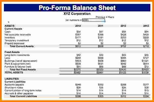 Pro forma Balance Sheet Template Luxury 7 Pro forma Balance Sheet