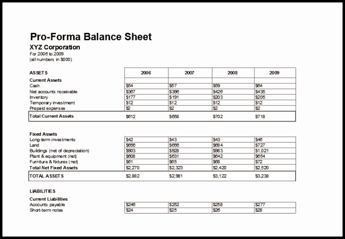 Pro forma Balance Sheet Template New 9 Pro forma Financial Statements Template Template