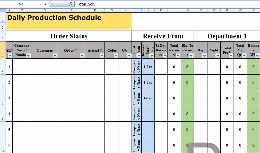 Production Planning Excel Template Lovely Daily Production Schedule Template Excel Free Excel